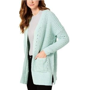 Style & Co. Womens Ribbed Trim Open Front Cardigan